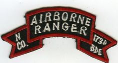 Vietnam Made N Co 75th Airborne Rangers Attached To 173rd Inf.Brigade Title