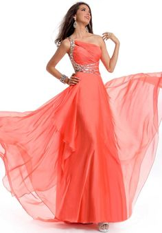 Floor length A-line one shoulder beading chiffon pink prom dress 2013=LOVE IT!!!