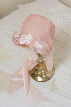 Silk Baby Bonnet --pink baby hat. Easter bonnet. infant. photo prop. child. hat. shower. gift. infant. fiber. clothes. antique bonnet.