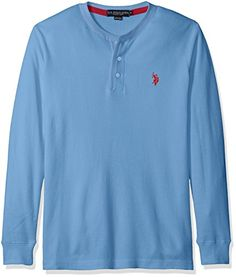 U.S. Polo Assn. Men's Long Sleeve Thermal Henley, Surf Spring, XX-Large