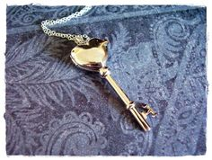 Large Heart Key Locket Necklace - Rhodium Sterling Silver Heart Key Locket on a Delicate 18 Inch Sterling Silver Cable Chain on Etsy, $76.00