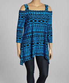 Another great find on #zulily! Royal Blue & Black Tribal Cutout Tunic - Plus by Come N See #zulilyfinds