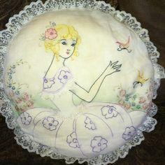 Vintage Embroidered Southern Belle Ribbon Art Crinoline Lady Girl Pillow   eBay