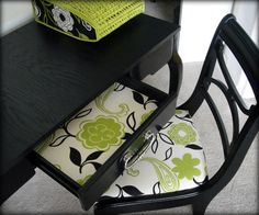 lexy has a black desk that needs to be refinished i love the drawer liner that matches the upholstered chair - great idea