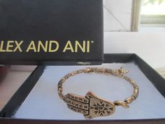 RARE Alex and Ani Hamsa Hand of Fatima  Wrap Rafaelian Gold Bangle Bracelet box #AlexandAni #Bangle