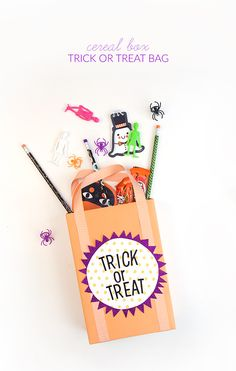 This easy to make cereal box trick or treat bag is large enough to house a respectable stash, but still small enough to avoid a house full of child-sized candy zombies. Halloween Parties, Halloween Crafts For Kids, Diy Halloween Decorations, Halloween Gifts, Fall Halloween, Purple Cards, Alphabet Stickers, Trick Or Treat Bags, Candy Bags