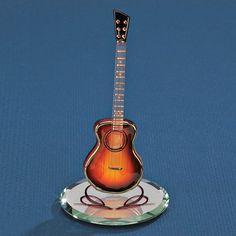 Sunburst Acoustic Guitar Glass Figurine