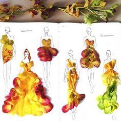 Grace Ciao fashion illustrations using petals