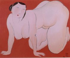 'Fat Lady' by Chinese artist Hu Yongkai (b.1945). Ink & color on paper, 68 x 45 cm. via the prodigious century