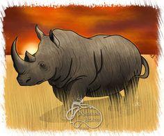 Rhino Daily Creature by NadilynBeatosArt on Etsy, $10.00