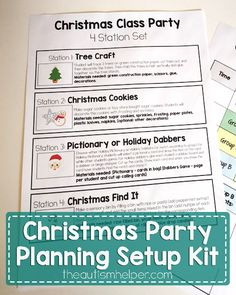 Christmas Party Planning Setup Kit - The Autism Helper School Holiday Party, School Parties, School Holidays, Autism Classroom, Special Education Classroom, Classroom Setup, Party Stations, Quick Print, Teaching Techniques