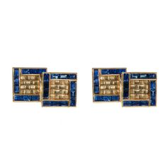 Pair of Art Deco Gold and sapphire cufflinks, French c.1930 | From a unique collection of vintage cufflinks at http://www.1stdibs.com/jewelry/cufflinks/cufflinks/
