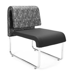UNO Series Black Seat and Nickel Back Lounge Chair 420 by OFM (2 Pack!)