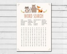 Woodland Baby Shower Word Search Game Cards Woodland Animals Forest Animals Raccoon Rabbit Bear Fox Printable Instant Download 0010 Forest Animals, Woodland Animals, Game Cards, Card Games, Word Search Games, Baby Shower Wording, Wishes For Baby Cards, Baby Words, Online Print Shop