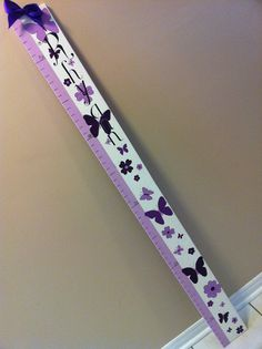 custom wooden growth chart for a girl`s room. butterfly theme. Can be made to order from Signs By Design. Email info@signsbydesign.ca for more info.
