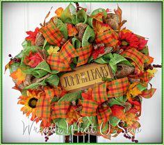 Fall Autumn Wreath Door Hanger Burlap Home Decor by WreathWhatUSew