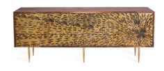 Peacock buffet sideboard in American walnut/brass, Life Interiors