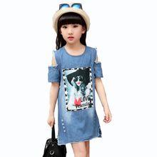 Girls Denim Dress 2017 Fashion Summer Girls Clothes Cotton Cowboy Princess Dresses for Leisure Strapless Dress 4 6 8 10 12 Years(China (Mainland))