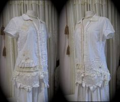Shabby White Blouse, womens lacey top, romantic shabby n chic, womens victorian refashioned clothes LARGE