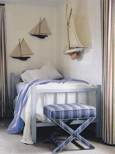 Nautical room for kids.  I'd like to turn that bench into a luggage rack for guests-that would be welcoming.