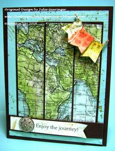 Stamping with Julie Gearinger: Stampin' Up! Swap Card using World Map and Pedaling Past (both MDS versions) along with traditional card making techiques and punches