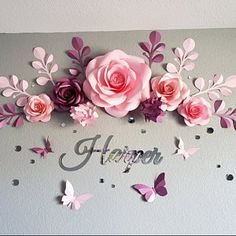 paper flowers Nursery Paper Flower Wall decor is a bright solution to make this special space so girlish and romantic, giving the nursery room a dreamy look!These hanging paper flowers Hanging Paper Flowers, Paper Flower Decor, Large Paper Flowers, Flower Wall Decor, Flower Crafts, Flower Decorations, Diy Flowers, Flower Art, Paper Flower Arrangements