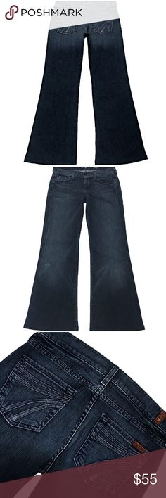 """7 For All Mankind Dojo 26X27.5 (#598) A Nice Pair Of 7 For All Mankind """"Dojo"""" Women's SZ 26 Flare Leg Dark Wash With Blue Jean Cutout Stitched 7 Low-Rise Stretch Jeans. Has Been Hemmed  Style# U115PN203S Cut# 725256 Measurements: Waist: 26"""" Hips: 34"""" Front rise: 8"""" Back rise: 12.5"""" Inseam: 27.5"""" 7 For All Mankind Jeans Flare & Wide Leg"""