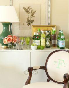 bar vignette // living room by Tobi Fairley #drinks #bar