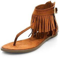 New Look Windsor Tan Fringe trim sandals - £27.99 at ClothingByColour.com