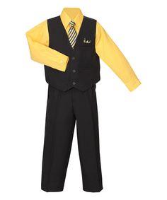 Loving this Black & Mustard Four-Piece Suit - Boys on #zulily! #zulilyfinds