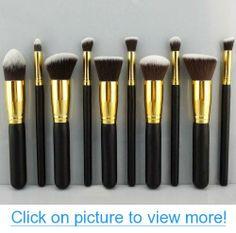 BESTOPE Premium Synthetic Kabuki Makeup Brush Set Cosmetics (Foundation Blending Blush Eyeliner Face Powder Brush Makeup Brush Kit(Golden + Black) Color