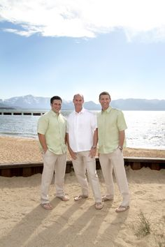 Beach Groom - I like that the groomsmen still looks like part of the wedding party but are still casual like the groom Beach Wedding Groom Attire, Beach Groom, Casual Groom Attire, Wedding Looks, Dream Wedding, Beach Wedding Colors, Gray Weddings, Groom And Groomsmen, Bridesmaids
