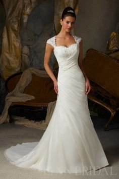 Fit and Flared Sweetheart Cap Sleeves Illusion Back Wedding Dress (lynnbridal.com)