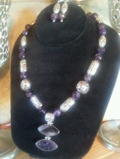 Amethyst & Filigree Necklace with a Double Drop Amethyst Pendant.