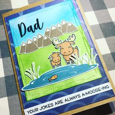 Father's Day card or birthday card for Dad using Lawn Fawn Dad and Me stamp set. Card inspired by my friend Jacinda Polinelli.