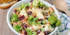 Broccoli cranberry salad is infused with color, crunch, and flavor. It's the perfect mixture of broccoli, apples, cranberries & a spoonful of lemon syrup. Tasty Broccoli Recipe, Healthy Broccoli Salad, Broccoli Recipes, Pasta Recipes, Cooking Recipes, Healthy Recipes, Recipe Pasta, Broccoli Slaw, Fresh Broccoli