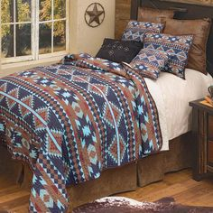 Aztec Bedroom, Southwest Bedroom, Mexican Bedroom, Southwest Decor, Western Bedding Sets, Western Rooms, Western Decor, Quilt Sets Queen, Black Forest Decor
