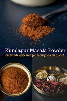 Style Kundapur Masala Powder Cut your cooking time for Mangalorean dishes substantially by making Kundapur masala powder ahead of time. This spice blend or masala is what goes into most vegetarian as well as non-vegetarian Mangalorean dishes. Masala Powder Recipe, Masala Recipe, Biryani Recipe, Homemade Spices, Homemade Seasonings, Spice Blends, Spice Mixes, Masala Spice, Garam Masala