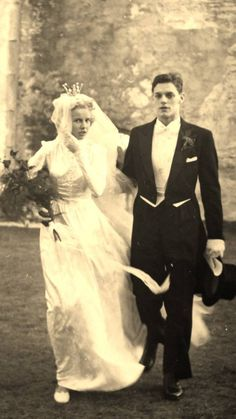 Would love to go back to the days when wedding dresses weren't just some variation of strapless dress! Wedding, Sweden 1951.