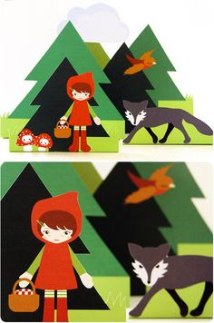 Little Red Riding Hood print put. Follow this pin to see a cute sewn R.R.H. doll too.