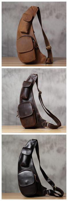 Handmade Vintage Genuine Leather Messenger Bag, Shoulder Bag, Chest Bag, Leather Goods For Men