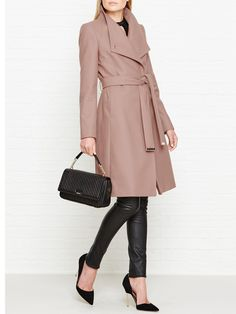 TED BAKER Aurore Long Wrap Collared Coat - On Site Now.