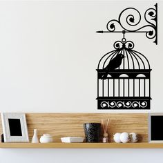 Wall Mounted Bird Cage Left Vintage Wall Sticker Decal