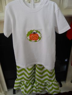 Pumpkin Applique Pant Set sizes   24M  and a 5  Like us on Facebook  SOUTHERN BELLES BOUTIQUE   (Make sure you type in all Caps)