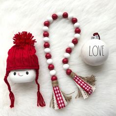 farmhouse red & white wooden bead garland with high wrapped tassels. Handcrafted with painted wooden beads, hemp cord, ribbon, & jute. This listing is for the garland only. Christmas Bead Garland, Wood Bead Garland, Diy Garland, Beaded Garland, Christmas Crafts, Garlands, Garland Ideas, Fall Crafts, Kids Crafts
