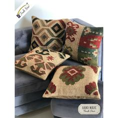 Vintage Kilim Pillow Case Hand Woven Jute Rug Cushion Cover Set Of 4 Pcs … - Cushions Boho Throw Pillows, Throw Cushions, Throw Pillow Cases, Cushions On Sofa, Kilim Pillows, Dorm Tapestry, Bohemian Tapestry, Jute Rug, Woven Rug