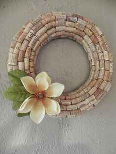 Corks used to create/make/DIY an embellished wreath, perfect for everyday use or customized for holidays such as Easter, Christmas, Thanksgiving, or simply to celebrate spring, summer, fall or winter.  Pretty!