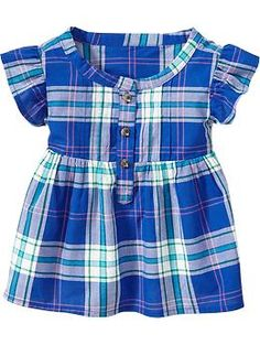 Lily: 2T Plaid Flutter-Sleeve Pullovers for Baby | Old Navy