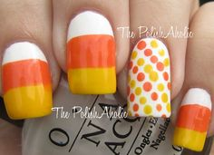 Kids will die when the see my nails done like candy corn! AHHHH!