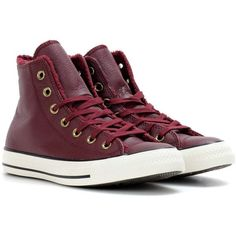 Converse Chuck Taylor All Star Winter Leather + Fur High Top Sneakers ($99) ❤ liked on Polyvore featuring shoes, sneakers, red, high top sneakers, red trainers, converse trainers, red sneakers and high top shoes